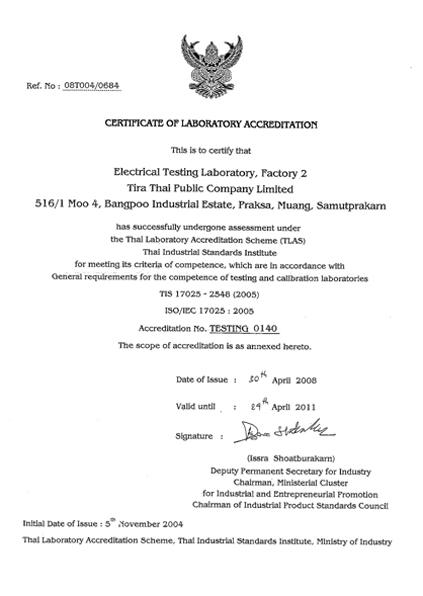 Certificate of Laboratory accreditation